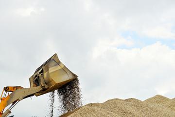 bulldozer working with gravel