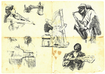 musicians with musical instruments.