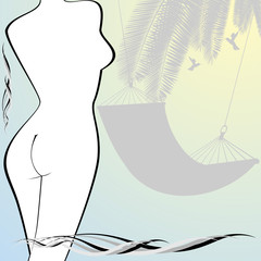 The contour of the female figure