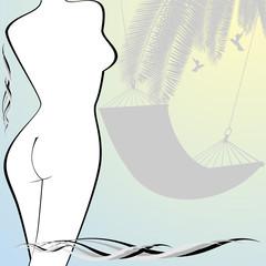 The contour of the female figure