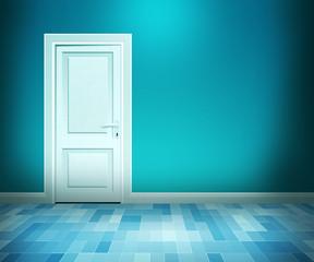 Door in Blue Bath Room