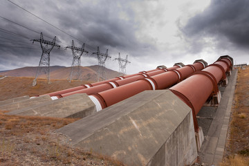 Hydroelectric plant in renewable energy concept