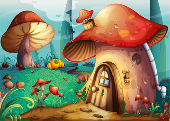 Garden Poster Magic world mushroom house