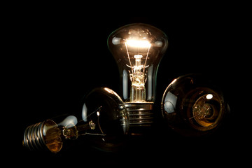 Light Bulb on black backgroung