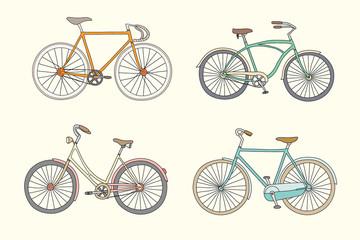 Set of retro bicycles in pastel tints