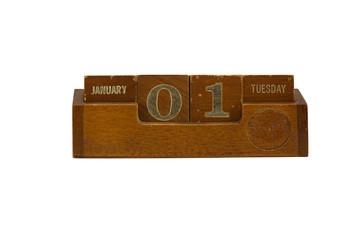 wooden calendar 2013 New year January 1 Tuesday