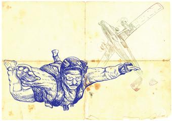 (vintage picture) parachutist