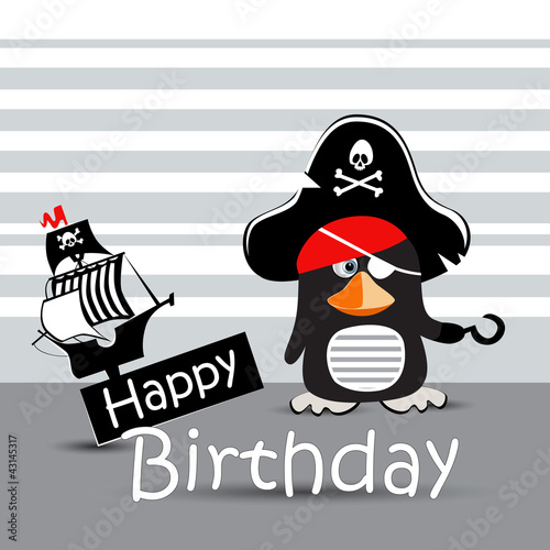 Happy Birthday Card Pirate Penguin Funny Stock Image And Royalty