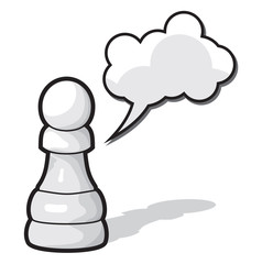Pawn Chess illustration with cloud speech bubble