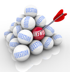 Questions and Answer Pyramid Arrow Target Word on Ball