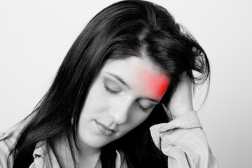 Foto op Canvas Rood, zwart, wit woman with headache, monochrome photo