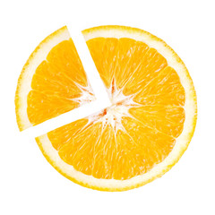 Slice of orange in the shape of pie chart on white background