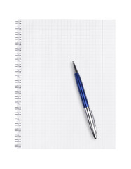 Notepad and pen on a white background