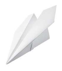 Paper airplane on white background