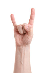 Heavy metal. Gesture of the hand on white background