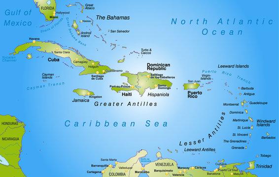 Landkarte der Bahamas + Antillen als Übersicht