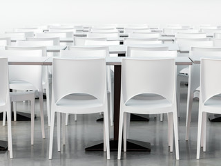 Empty canteen with modern styled white chairs and tables