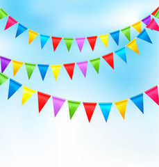 Holiday background with birthday colorful flags