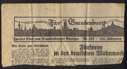 Detail einer alten Zeitung / Ausschnitt / Überschrift