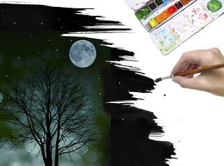 hand painting night picture with the moon and tree