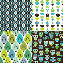 Seamless retro owl tree pattern background in vector