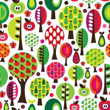 Seamless retro flower apple pattern background in vector