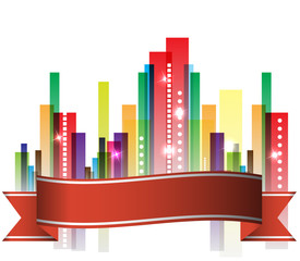 City Landscape abstract real estate with ribbon