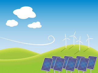 Solar panels and windmills on green field. Eco concept.