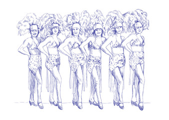 cancan girls (this is original blue sketch, sharp lines !)