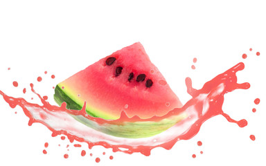 Mellon slice with splash isolated on white