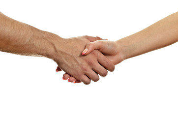 Man and woman shaking hands. Isolated on white.