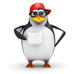 3d Penguin in baseball cap drinks coffee