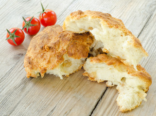 bread stuffed with pork cracklings, product food from Sardinia