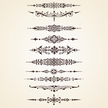 Vintage decorative ornaments text dividers set