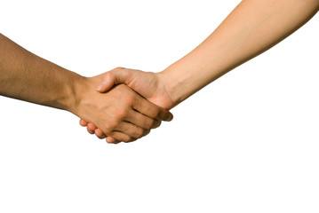 Händedruck zwischen jungen Händen