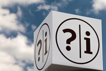 White cube shaped notice sign with question and exclamation mark