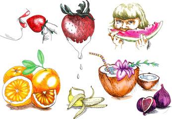 Summer holiday and fruits