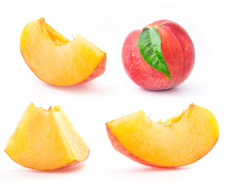 Peach and Slice, isolated on white background