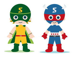 Poster Superheroes female and male superheroes kids character
