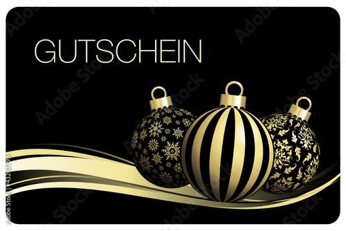 Christbaumkugeln Schwarz Gold.Gutschein Christbaumkugeln Schwarz Gold Stock Image And