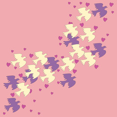 Flock of birds on a pink background