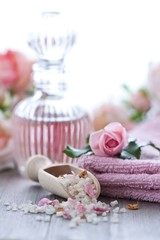 Bath salt and rose water