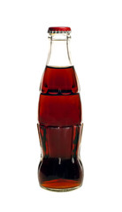 glass bottle of cola soda isolated on a white background