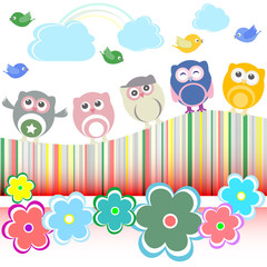 Vector set - owls, birds, flowers, cloud and rainbow