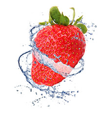 Poster Eclaboussures d eau Strawberry in water splash, isolated on white background