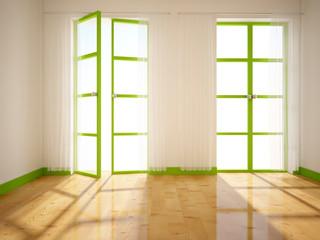 green window in the empty room