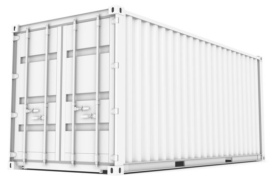 Cargo Container. All white Cargo Container. Perspective view.