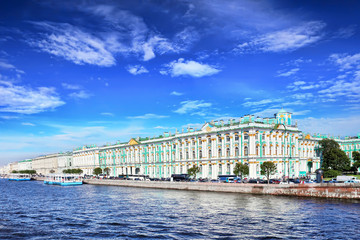 View Winter Palace  in  Saint Petersburg from Neva river. Russia