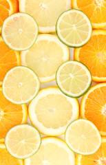 Orange lime and lemon close up