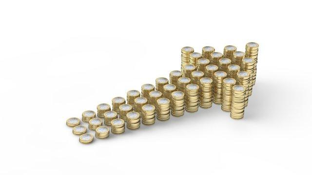 Pfeil aus Münzen